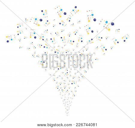 Space Symbols Fireworks Fountain. Vector Illustration Style Is Flat Iconic Symbols. Object Fountain