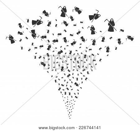 Death Scytheman Explosion Fountain. Vector Illustration Style Is Flat Iconic Symbols. Object Fountai