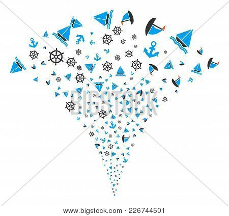 Boat Sailing Fireworks Fountain. Vector Illustration Style Is Flat Iconic Symbols. Object Fountain O