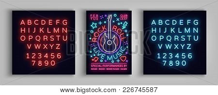 Rock N Roll Live Music. Typography, Poster In Neon Style, Neon Sign, Flyer Design Template For Rock