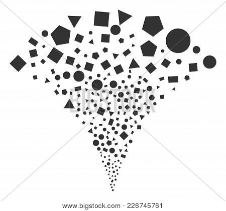 Geometric Figures Fireworks Fountain. Vector Illustration Style Is Flat Iconic Symbols. Object Fount