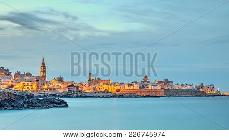 Monopoli Old Town Seascape, Evening View, Lights On
