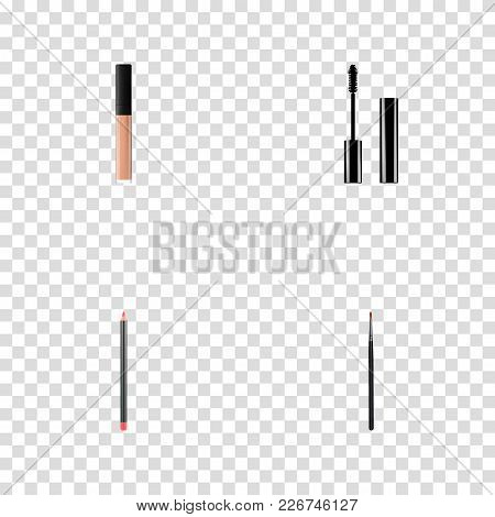 Set Of Greasepaint Realistic Symbols With Cosmetic Stick, Lip Pencil, Concealer And Other Icons For