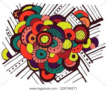 Bright Abstract Background Of Fun Circles. Vector
