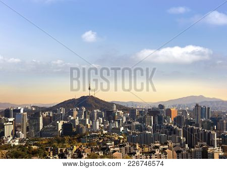 Sunset Seoul South Korea City Skyline With Seoul Tower.