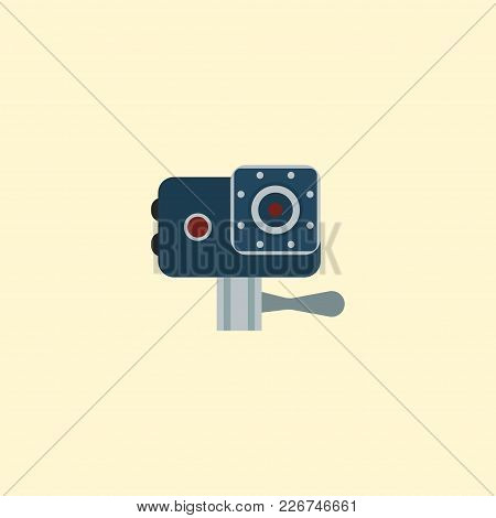 Action Cam Icon Flat Element.  Illustration Of Action Cam Icon Flat Isolated On Clean Background For