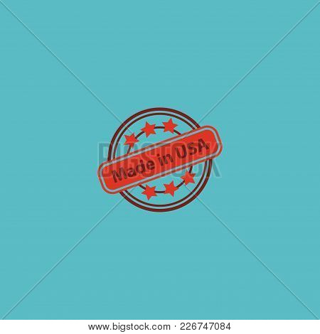 Made In Usa Icon Flat Element.  Illustration Of Made In Usa Icon Flat Isolated On Clean Background F