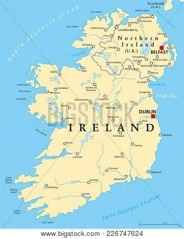 Ireland And Northern Ireland Political Map With Capitals Dublin And Belfast, Borders, Important Citi