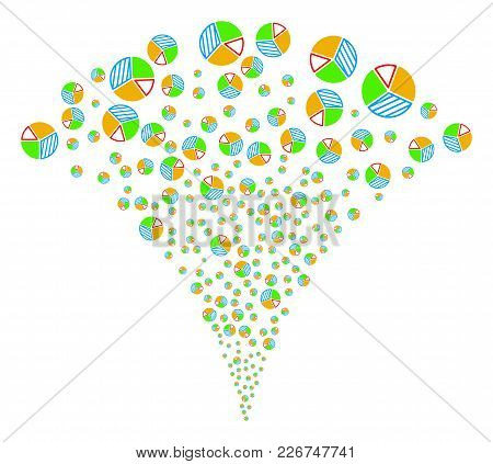 Pie Chart Stream Fountain. Vector Illustration Style Is Flat Iconic Symbols. Object Fountain Created