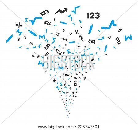 Math Symbols Exploding Fountain. Vector Illustration Style Is Flat Iconic Symbols. Object Fountain M
