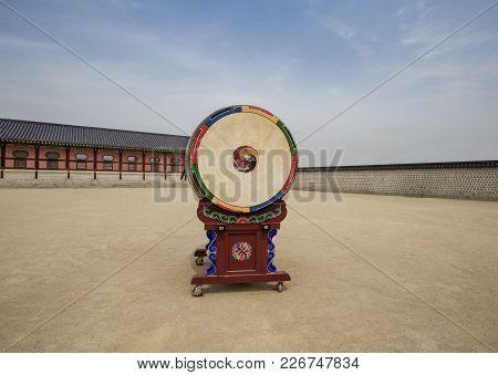 Ancient Drum At  Gyeongbokgung Palace In Seoul,south Korea.