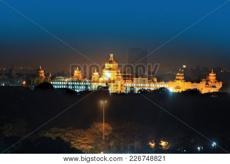 Bangalore legislative assembly in night time