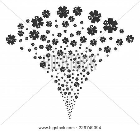 Life Star Explosion Fountain. Vector Illustration Style Is Flat Iconic Symbols. Object Fountain Made