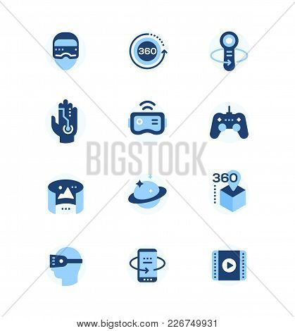 Virtual Reality - Set Of Flat Design Style Icons. High Quality Blue Images Of Vr Glasses, Gloves, Co