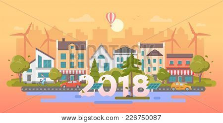 Eco City - Modern Flat Design Style Vector Illustration On Orange Background. A Composition With Nic