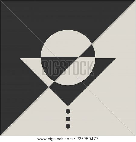 Geometric Minimalistic Suprematism Art Movement Styled Illustration: Lonely Mime Actor Waiting For P