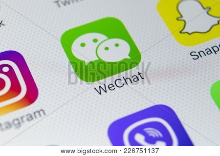 Sankt-petersburg, Russia, February 9, 2018: Wechat Messenger Application Icon On Apple Iphone X Smar