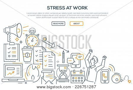 Stress At Work - Modern Line Design Style Illustration On White Background. Banner With Heading, Pla