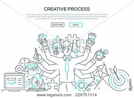 Creative Process - Modern Line Design Style Illustration On White Background. Banner With Heading, P