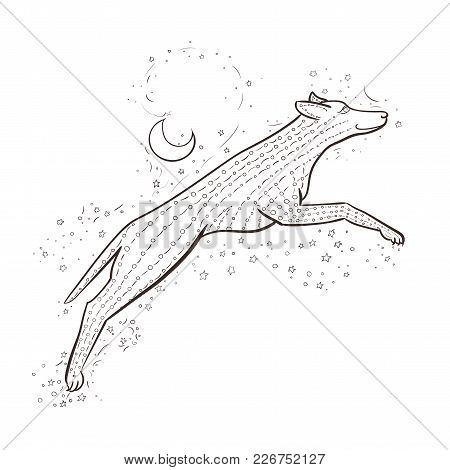 Zentangle Wolf Jumps On Background Night Sky With Moon And Stars. 2018 New Year Vector Illustration.