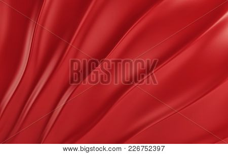Red Silk Drapery And Fabric On The Floor. 3d Rendering
