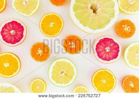 Citrus Fruit Pattern Made Of Lemon, Orange, Grapefruit, Sweetie And Pomelo. Flat Lay, Top View.
