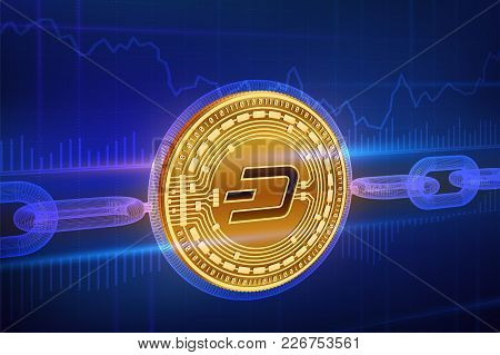 Crypto Currency. Block Chain. Dash. 3d Isometric Physical Golden Dash Coin With Wireframe Chain. Blo