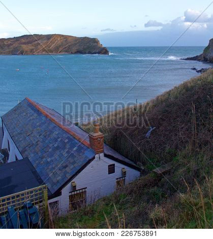 Ocean View Above House Of Lulworth Cove, Dorset, England