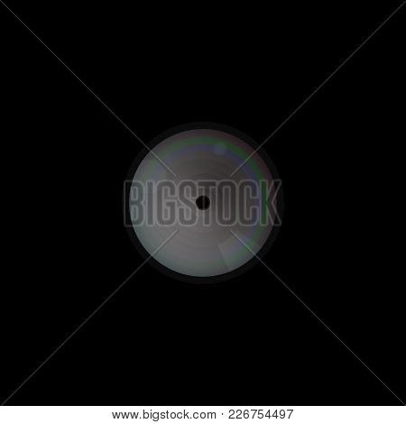 Hidden Camera In Black Wall. Unnoticeable Lens. To Observe People In The Room. Micro Spy Vector Illu