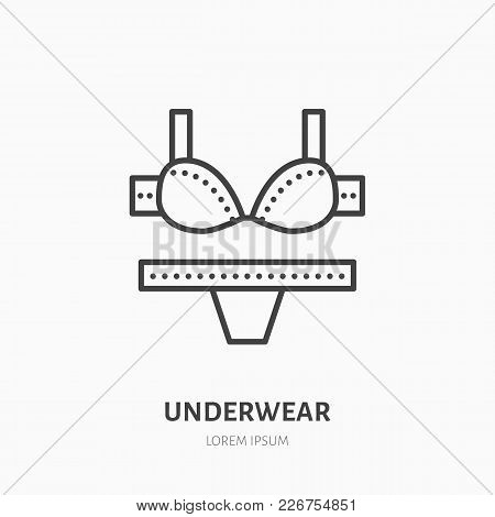 Women Underwear Flat Line Icon, Bra And Underpants. Swimsuit Store Sign. Thin Linear Logo For Clothi