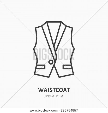 Vest, Waistcoat Flat Line Icon. Garment Store Sign. Thin Linear Logo For Clothing Shop.