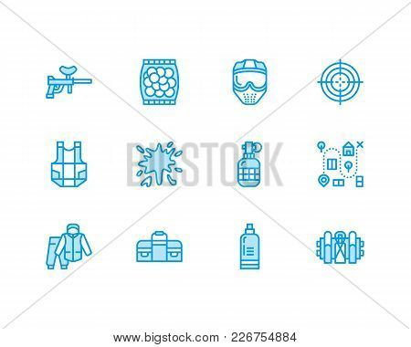 Paintball Game Vector Flat Line Icons. Outdoor Sport Equipment, Paint Ball Marker, Uniform, Mask, Ch