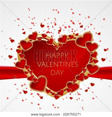Valentines Day Abstract Background With Red Heart. Vector Illustration. Vector Illustration Eps10