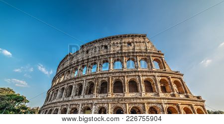 World Famous Coliseum On A Sunny Day. Rome, Italy