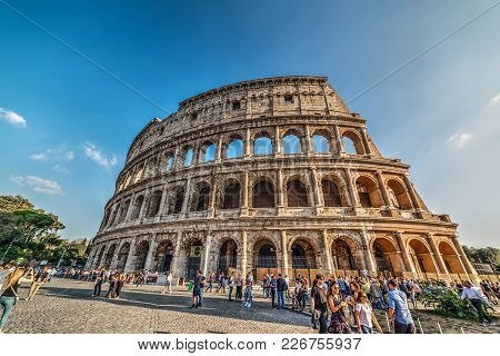 Rome, Italy - October 13, 2017: Tourists In Colosseo Square