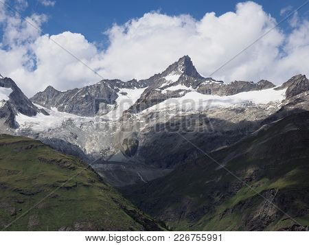 Alpine Mountains Landscapes In Swiss Alps At Switzerland, Picturesque Scenery With Lake, Seen From G