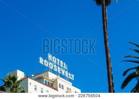 Los Angeles, California - November 2, 2016: Roosevelt Hotel In Hollywood Boulevard