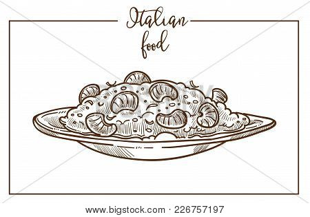 Risotto Sketch Icon For Italian Food Cuisine Menu Design. Vector Sketch Of Italy Traditional Risotto