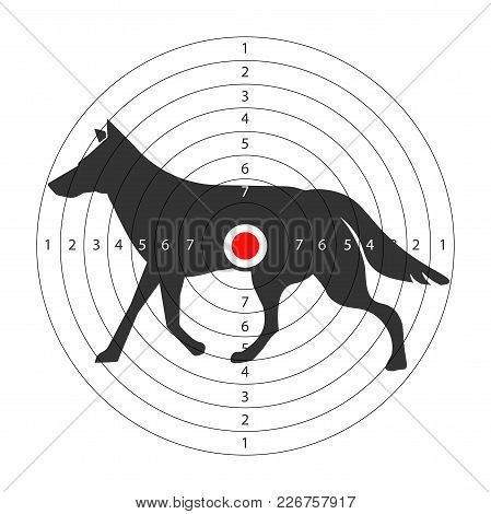 Target For Shooting Gallery With Wild Wolf Silhouette. Round Aim With Animal For Hunters To Train. B