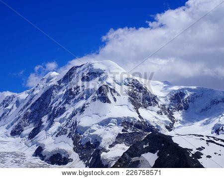 Lyskamm At Monte Rosa Massif, Landscapes Of Swiss Alpine Mountain Range Glacier In Alps, Switzerland