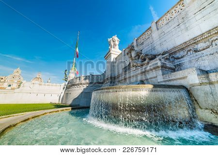 Fountain In Altar Of The Fatherland In Rome, Italy