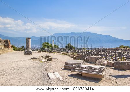 Panoramic View Of The Ancient City, The Ruined Ancient Columns And The Volcano Vesuvius, Pompeii (sc
