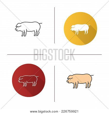 Pig Icon. Flat Design, Linear And Color Styles. Livestock Farming. Isolated Vector Illustrations