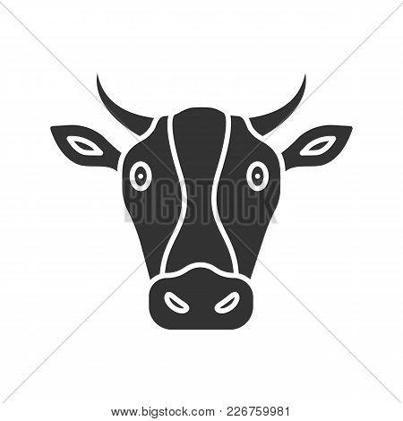 Cow Head Glyph Icon. Livestock Farming. Agriculture. Silhouette Symbol. Negative Space. Vector Isola