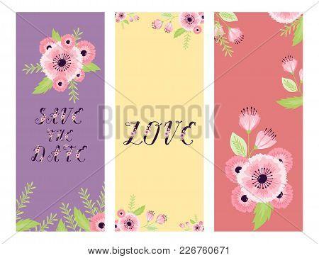 Vector Save The Date Love Flower Valentine Day Wedding Floral Card Invitation Celebration Date Save