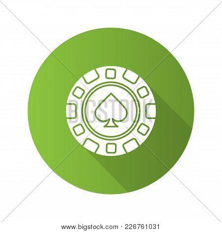 Casino Chip Flat Design Long Shadow Glyph Icon. Gambling Token With Spade Sign. Casino. Vector Silho