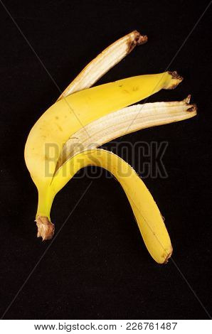 Banana Peel Isolated On The Black Background