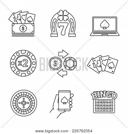 Casino Linear Icons Set. Real Money Casino, Lucky Seven, Online Poker, Doubledown, Four Aces, Bingo,