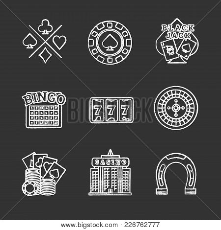 Casino Chalk Icons Set. Cards Suits, Gambling Chip, Blackjack, Bingo, Lucky Seven, Roulette, Casino