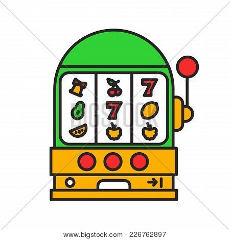 One Armed Bandit Color Icon. Slot Machine. Casino. Isolated Vector Illustration